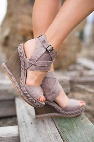 Walk of the Town Braided Detail Ankle Wrap Buckle Wedges (Grey)