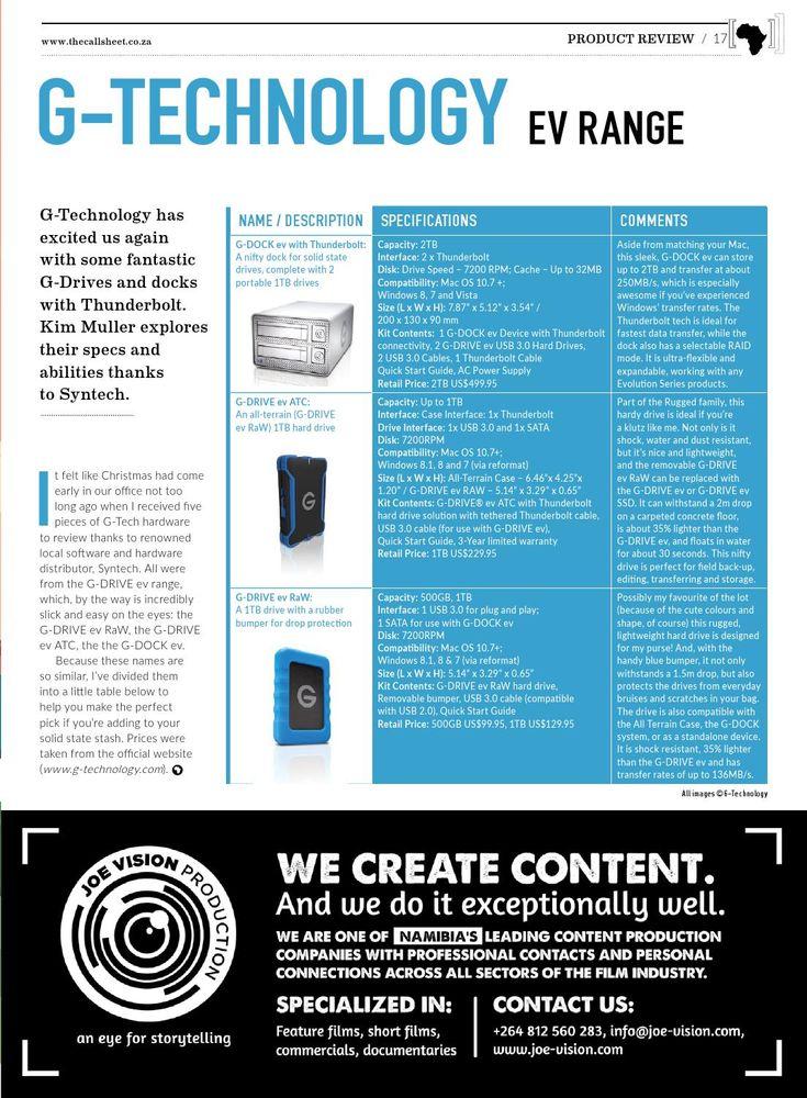 Product Review - The Callsheet - G-Tech: http://ow.ly/T1b14   #syntech #reviews #Callsheet #gtech
