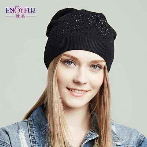 0edb6735f62ac3 ENJOYFUR Women hat for spring Autumn knitted beanies caps with rhinestones  2018 brand new fashion female casual hat