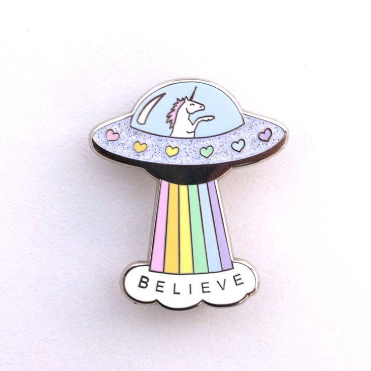 Believe - Unicorn Spaceship Hard Enamel Pin by Baublesaurus on Etsy