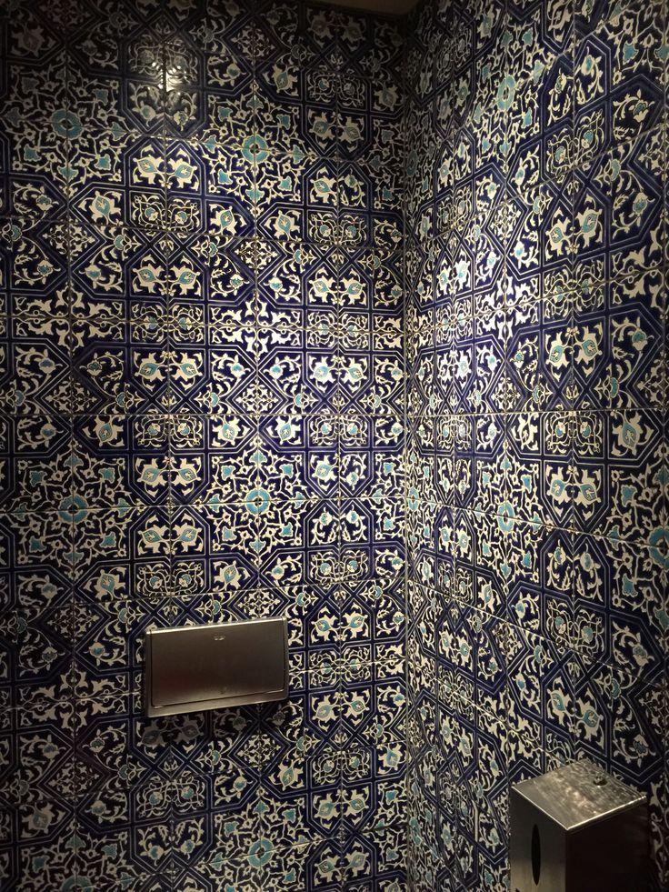 Pattern wallcower in toilette. Restaurant Interior. Amsterdam Bazar.