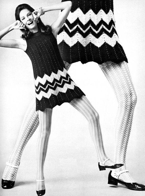 Zig-zag striped knit mini dress