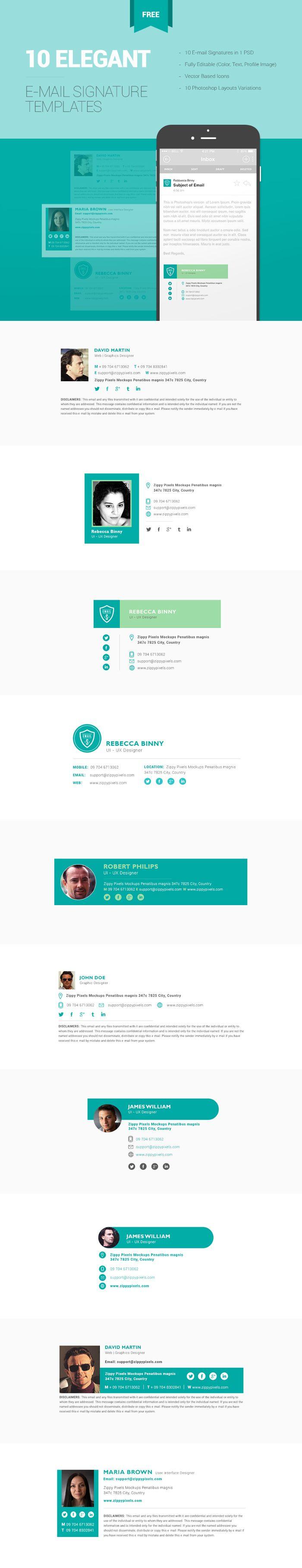 10 Elegant Free Email Signature Templates by ZippyPixels