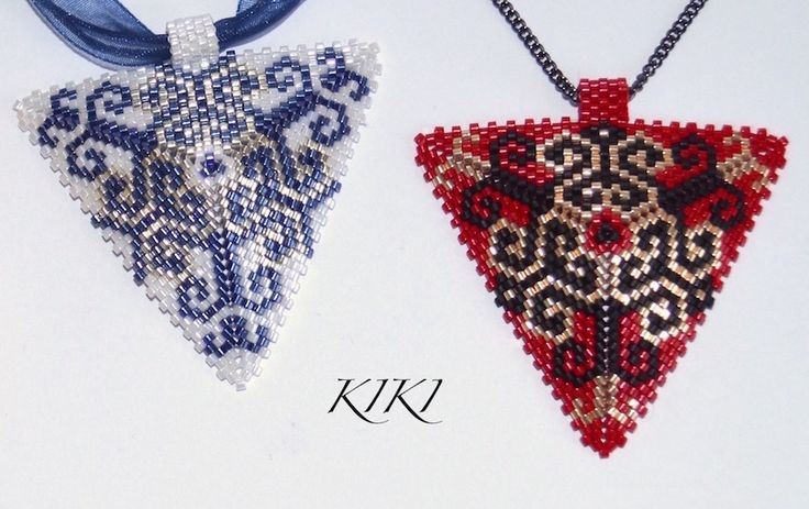 Peyote pendants with swirly pattern - my design