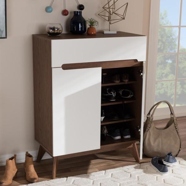 walnut and white shoe storage
