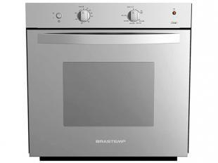 Forno a Gás de Embutir Brastemp Clean BOA61ARRNA - 77L Inox com Grill e Timer. Ele permite o controle interno de temperatura pra que você prepare seus pratos com precisão e um Grill que dá um acabamento ótimo a seus pratos.