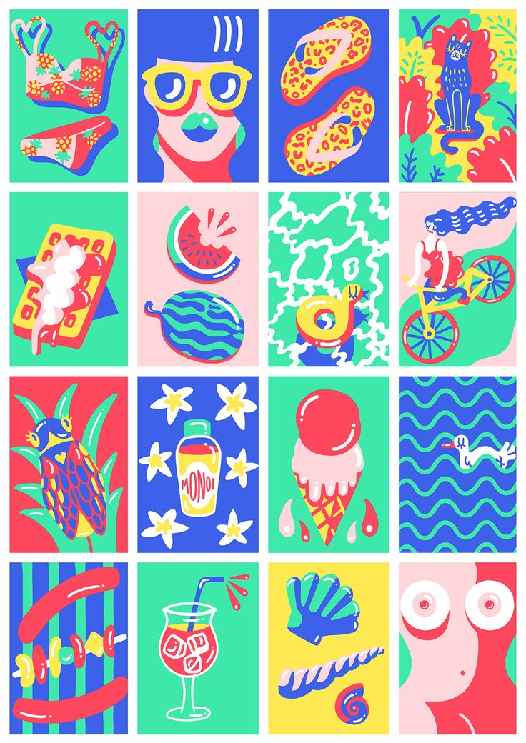 """Work in progress.After asking different people which element (smell, taste, atmosphere, feeling, sound, ...) represents summer for them, I used the answer to create individual illustrations that will then be used as a Poster representing the """"ultimate su…"""