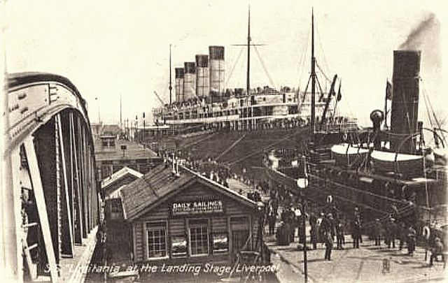 Liverpool Vintage Postcard - 'Lusitania' at the Landing Stage c 1910