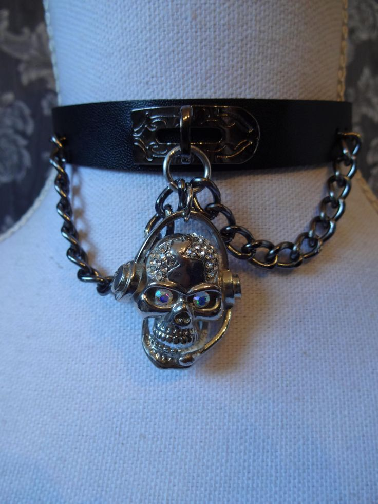 Skull headphone choker, black faux leather chain choker necklace - punk, gothic, lolita by MetalmanEd on Etsy