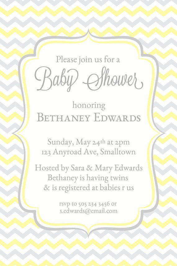 Baby Shower Invitation, Yellow Chevron Invitations, Baby Shower Invites, Printable Shower Invitations, Trendy, Modern on Etsy, $6.96
