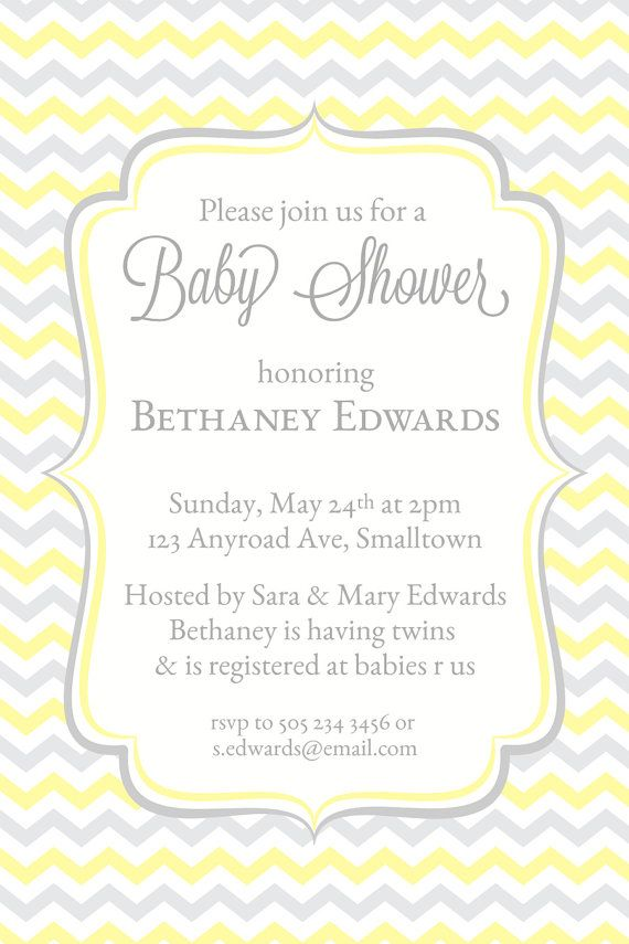 Baby Shower Invitation, Yellow Chevron Invitations, Baby Shower Invites, Printable Shower Invitations, Trendy, Modern