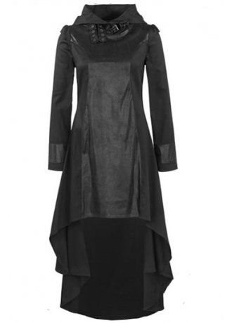 Queen of Darkness High Collar Hooded Dress