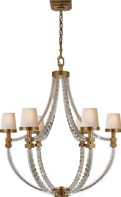 Crystal Cube Basket Chandelier in Antique Burnished-Brass with Natural Paper Shades : 25D2G | Pego Lamps