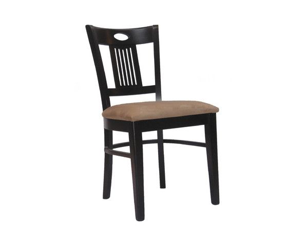 """PRESA SIDE CHAIR CHOICE OF FABRIC RECOVERY AND FINISH. Suitable for hospitality and residential use. 34"""" high 17.5"""" wide 16"""" seat depth 21"""" overall depth"""