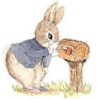 """Peter Rabbit gets letter from Pig I in the book 'Dear Peter Rabbit"""" by Alma Flor Ada illustrated by Leslie Tryon."""
