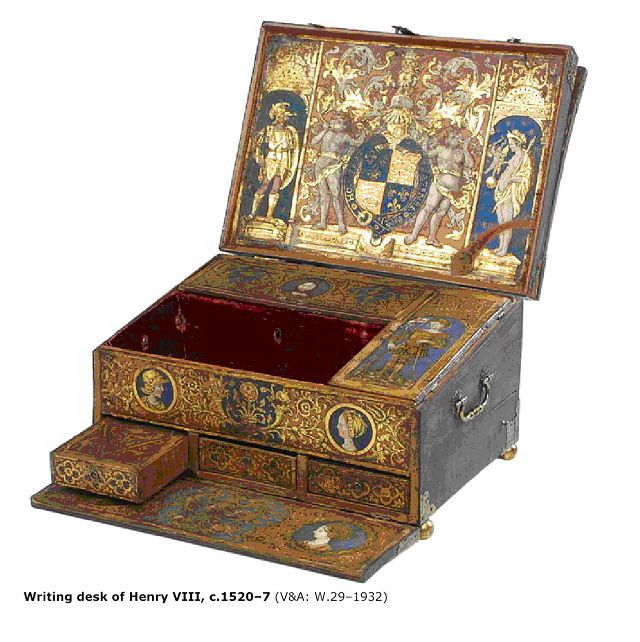 A portable desk, made for Henry VIII. Possibly one of the most costly portable desks ever made.
