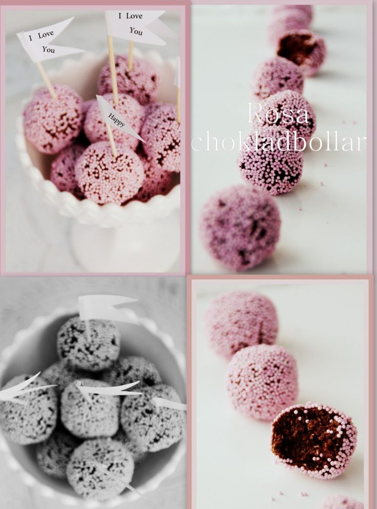 Choclate balls with pink sprinkles