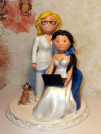 Gay Ladies women wedding cake topper by L'Enchanterelle