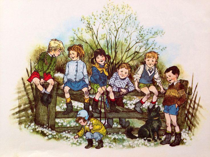 Illustratie van Ilon Wikland uit het boek 'Lente in Bolderburen' van Astrid Lindgren.