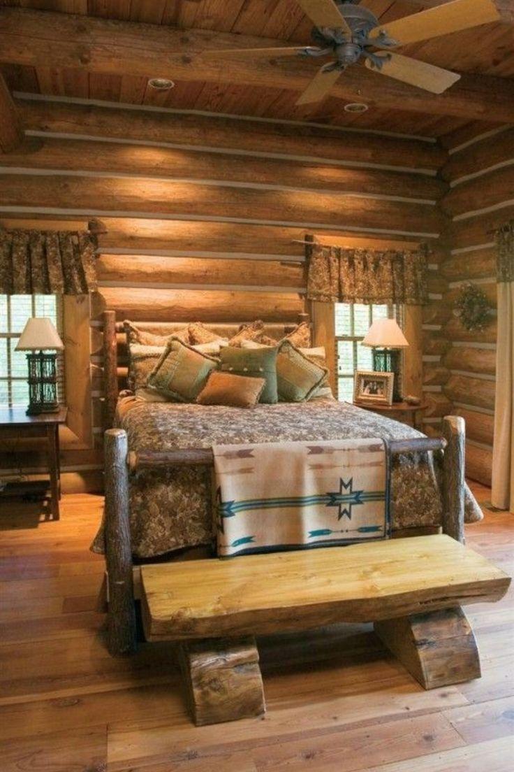 Fifty Extraordinary Rustic Log Home Bedroom Designs Log