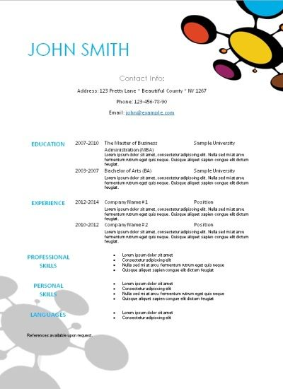 resume templates online free printable download