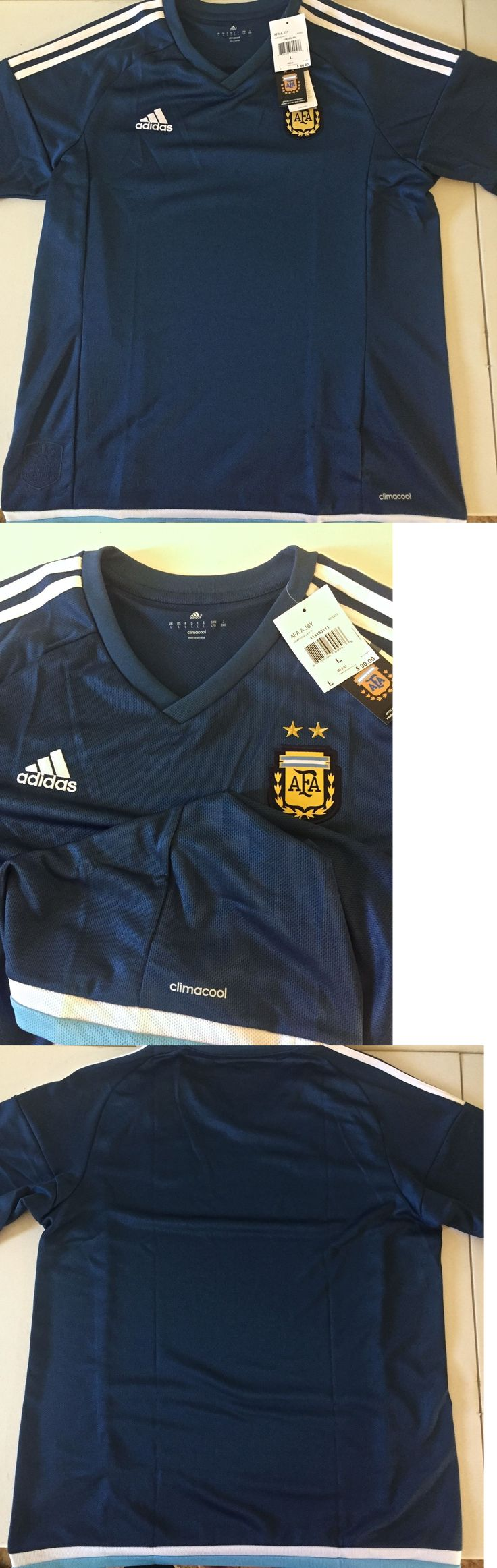 Soccer-National Teams 2891: Nwt Adidas Argentina Soccer Futbol 2016 Away Jersey - Mens Large Blue -> BUY IT NOW ONLY: $35 on eBay!