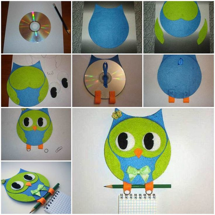 Wall Hanging Craft Ideas For Kids Part - 32: Creative Ideas - DIY Adorable Felted Owl From Old CD