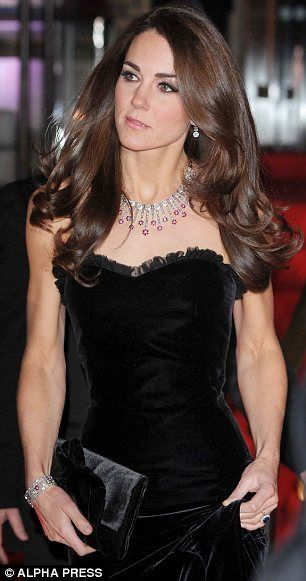 Kate in a £4,000 black strapless dress by her favourite couture label, Alexander McQueen