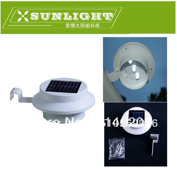 Открытый Солнечной энергии 3 LED Холодный Белый/Теплый Белый Свет Забор Водостоков Сад Двор Крыша Настенный Светильник