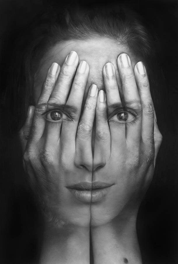 Hyperrealistische zwart-wit schilderijen