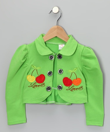 Take a look at this Green Cherry Bolero - Infant, Toddler & Girls by Lele for Kids on #zulily today!
