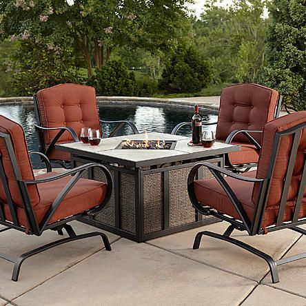 Grand Resort Oak Hill 5pc Cushion Firepit Chat Set