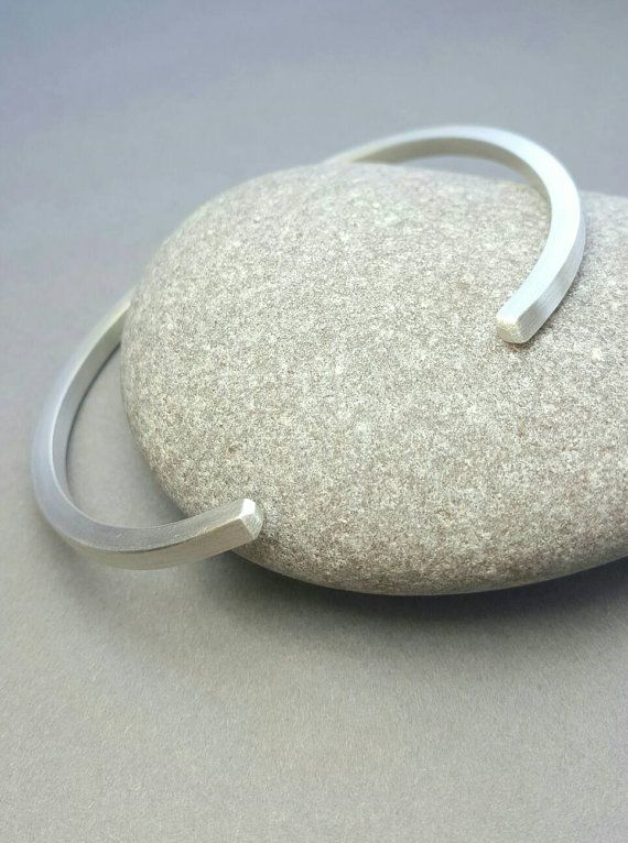 Argentium Silver open bangle / Chunky Mens bangle / by karmasilver