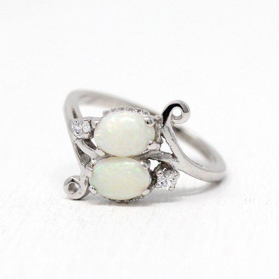 Opal Bypass Ring Vintage 10k White Gold Genuine 93 Ctw White Synthetic Spinels Sz 6 Mid Century 1950s October Birthstone Jewelry Opal Ring Vintage October Birthstone Jewelry Vintage Rings
