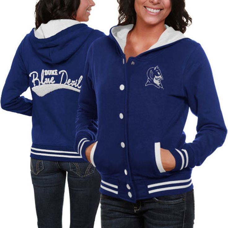 Duke Blue Devils Ladies Duke Blue Varsity Blues Full Button Hoodie Sweatshirt