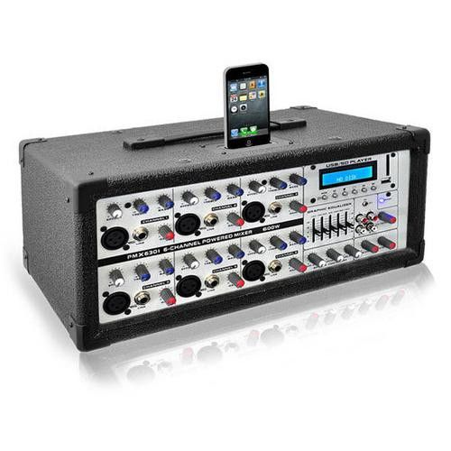 6-Channel 600 Watt Professional Mixer - iPod Dock, MP3 Player Input, SD Memory Card and USB Flash Readers