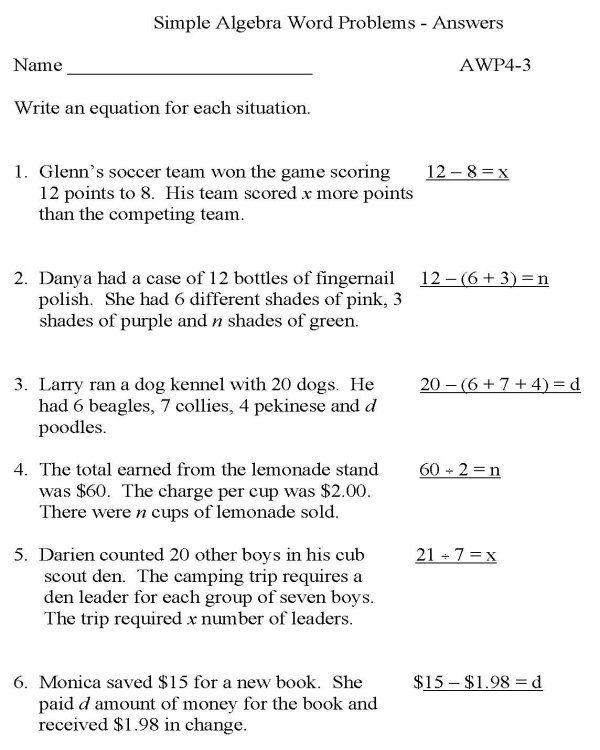 Practice Math Problems Simple Algebra Word Educative Printable Word Problem Worksheets Word Problems Practice Math Problems