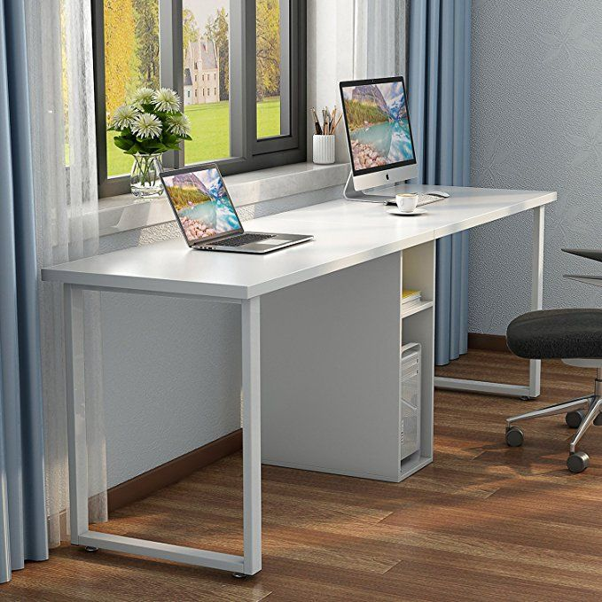 Little Tree 78 Extra Large Double Workstation Computer Desk For Two Person Simple Modern Style Office Desk With Desk For Two White Office Furniture Home Desk
