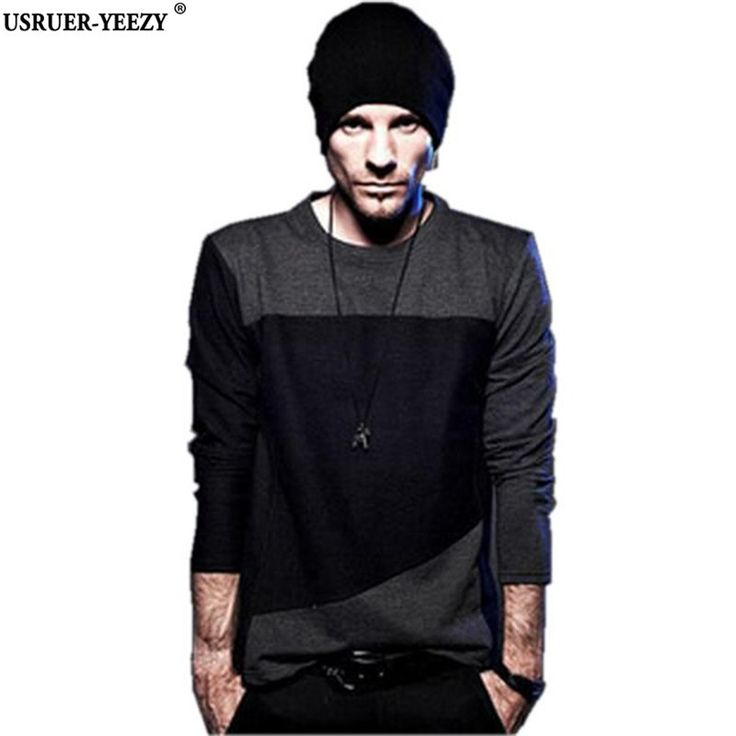 mens hairstyles USRUER-YEEZY Promotion Europe United States Long Sleeve T-shirt Men Striped Stitching T Shirt Male Fashion Tshirt Brand-Clothing * Click the VISIT button to view the details on AliExpress website