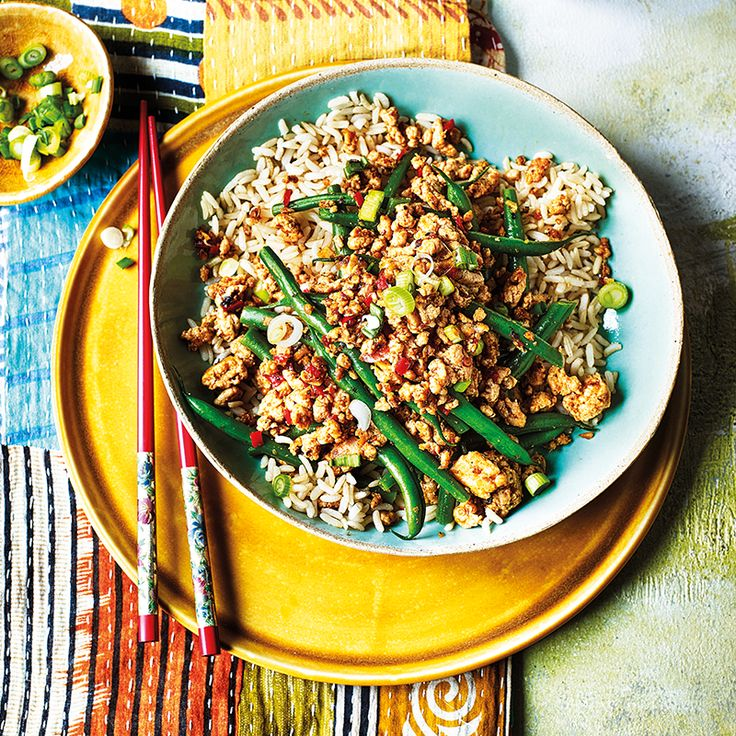 Spicy szechuan turkey mince with green beans | Healthy ...