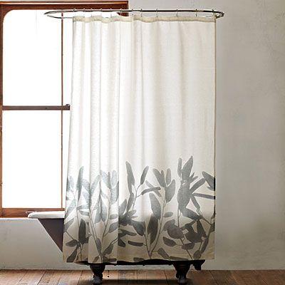 Shower curtain: Modern Showers Curtains, Downstairs Bathroom, Guest Bathroom, Bathroom Curtains, Bamboo Flower, Bathroom Showers, Flower Showers, Cottages Bathroom, West Elm