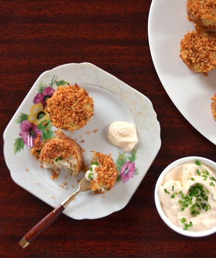 Mini Crab Cakes with Lemon-Chive Mayonnaise | Turn that novelty bakeware into a kitchen workhorse.