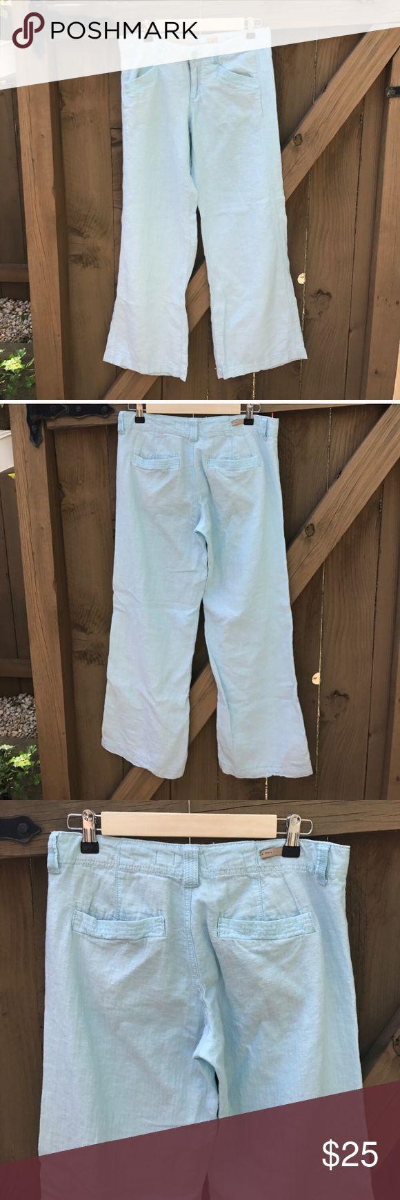 Pilcro size 6 baby blue linen wide leg pants Size 6 Pilcro baby blue linen wide leg pants: from Anthropologie: LOCATION: BIN 8 Pilcro Pants Wide Leg