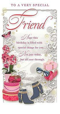 """Special Friend Birthday Card - Happy Birthday Orchid, Boots & Present 9"""" x 4.75"""" 