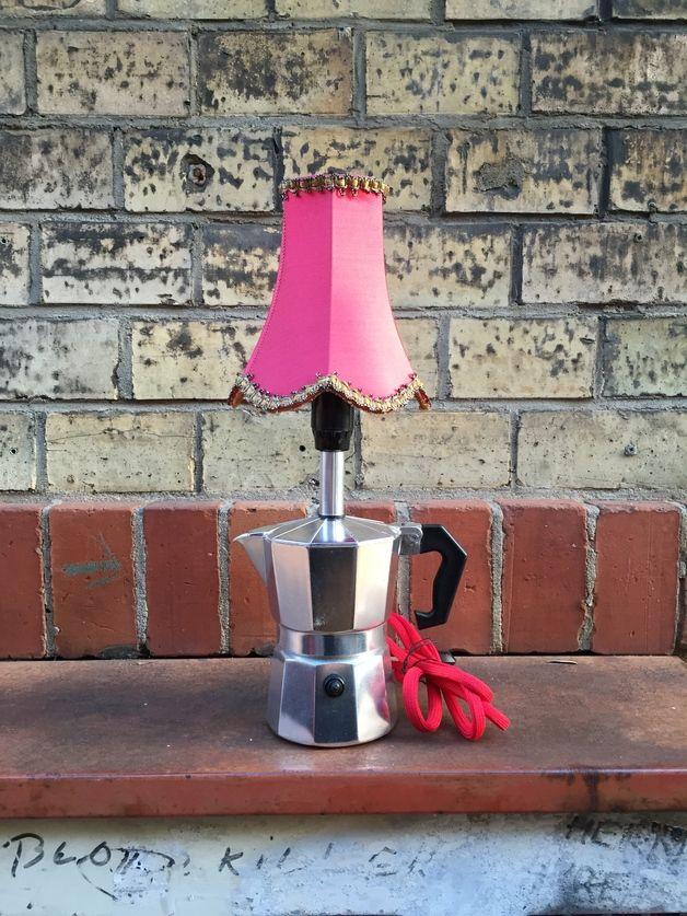 Ausgefallene Tischlampe aus Espressokanne / lamp made of coffeepot made by heldenart via DaWanda.com