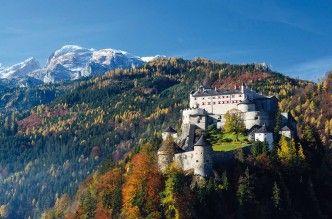 El castillo de Hohenwerfen, del siglo XI, se alza sobre un promontorio.
