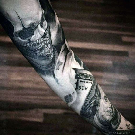 Realistic Money Forearm Sleeve Tattoo Ideas For Males