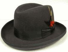 Mens Grey Godfather Hat 100% Wool Homburg Corleone 4201 - click to enlarge