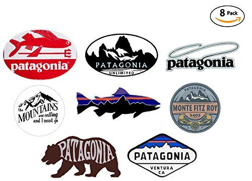 8 sticker set – VALUE PACK – Patagonia Monte Fitz Roy Perca Trucha (Percichthys trucha) – stickers travel adventure awaits wanderlust symbol window mountain motorcycle car – Made and shipped in USA – Laptop Stickers