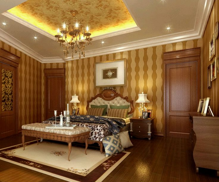 Home design, Century Bedroom Set With White Tufted Bench Pad Also Headboard Plus Tray Ceiling Style Also White Lighting And Decorative Brown Striped Wall Sticker Background: Create a Straightforward Luxury Ceiling Styles